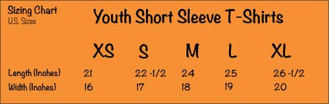 Youth Short Sleeve T—Shirts Sizing Chart - Anvil 990B - A TAD AND MORE Designs