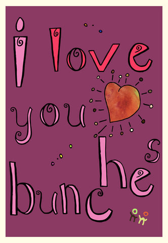 Purple Valentine's Day Card - I Love You Bunches - A TAD AND MORE - Cooking Up a Story