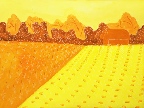 yellow farm illustration - print - A TAD AND MORE