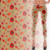 Poppies- Tan - Women's Leggings - Leggings - A TAD AND MORE Designs -The Cooking Up a Story product line
