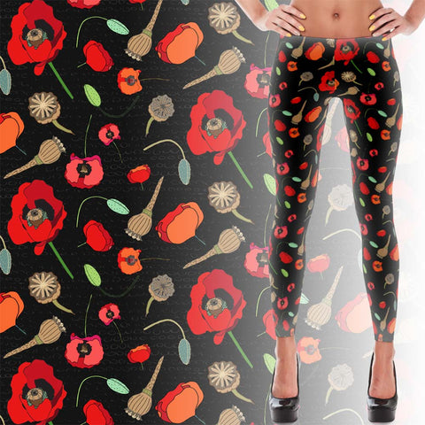 Poppies-Black - Women's Leggings - Leggings - A TAD AND MORE Designs -The Cooking Up a Story product line