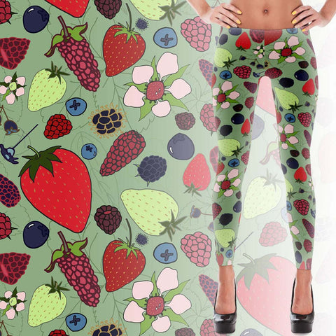 Berries - Women's Leggings - Leggings - A TAD AND MORE Designs -The Cooking Up a Story product line