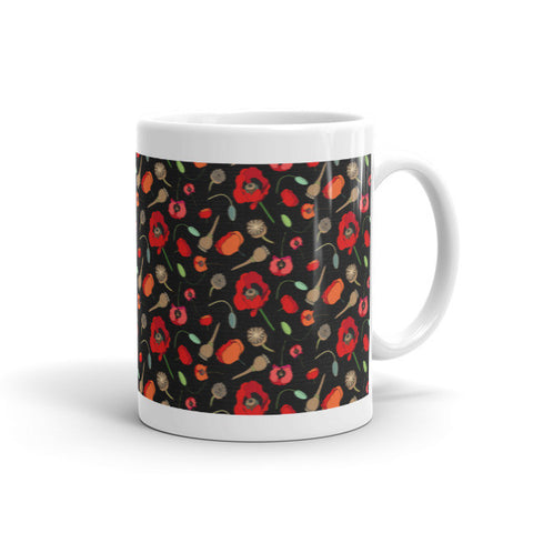 Poppies-Black - Ceramic Mugs - Ceramic Mugs - A TAD AND MORE Designs -The Cooking Up a Story product line