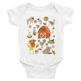 Chickens on the Farm - Infant Onesies - Infant Onesies - A TAD AND MORE Designs -The Cooking Up a Story product line
