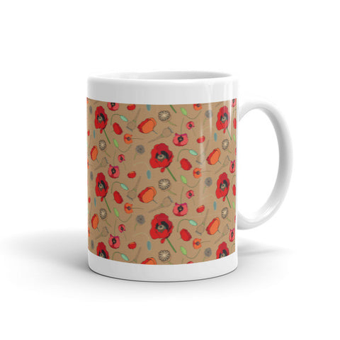 Poppies- Tan - Ceramic Mugs - Ceramic Mugs - A TAD AND MORE Designs -The Cooking Up a Story product line
