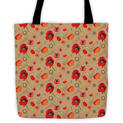 Tote Bags - Poppies- Tan - A TAD AND MORE - Cooking Up a Story