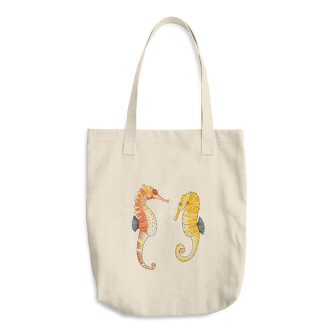 Seahorse Pair - Cotton Tote Bags - Tote Bags -A TAD AND MORE Designs - Cooking Up a Story product line