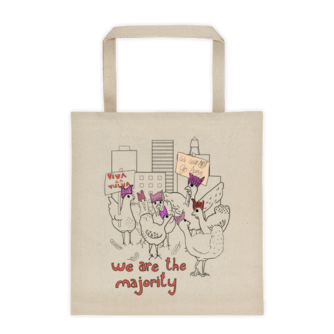 Chicken Flock with Pussy Hats - Tote Bags