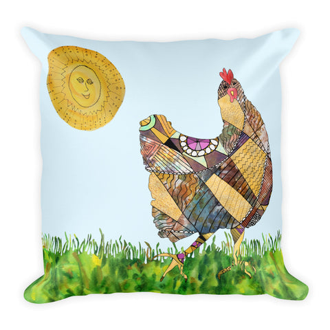 Mosaic Chicken - square Pillow - A TAD AND MORE Designs - The Cooking Up a Story product line