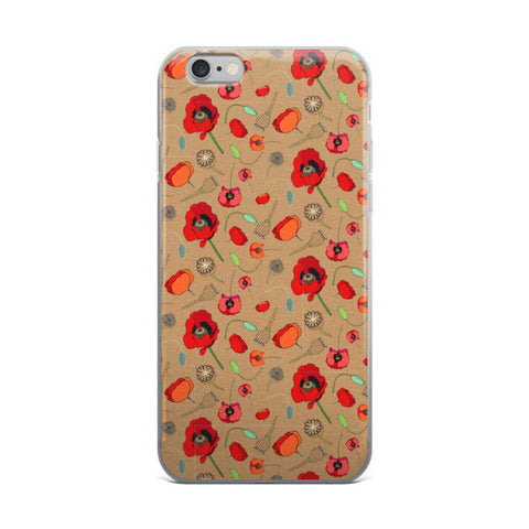 Poppies- Tan - iPhone Cases - iPhone Cases - A TAD AND MORE Designs -The Cooking Up a Story product line