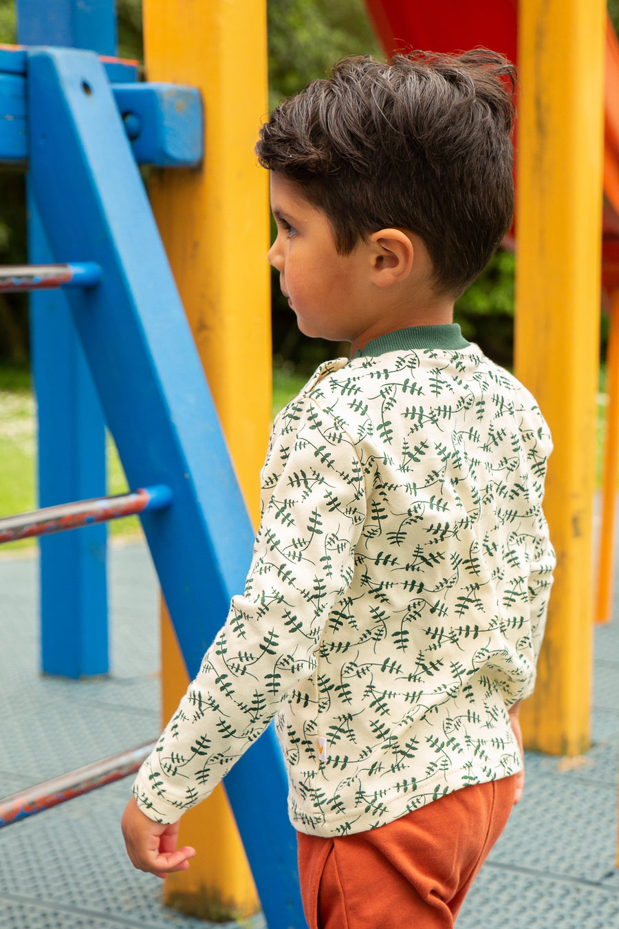 Kids Long Sleeve Tee - Leaf Print