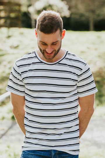 100% Organic Cotton Tui Tee - White & Black Stripe