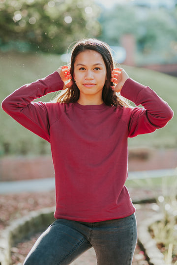 100% Organic Cotton Bernie Sweater - Burgundy