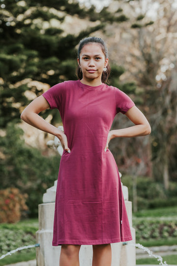 100% Organic Cotton Kererū Dress - Burgundy