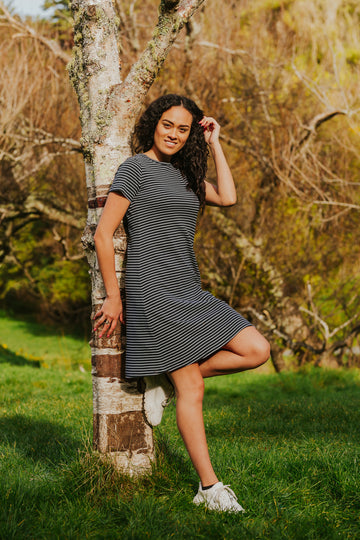 100% Organic Cotton - Navy Stripe Dress