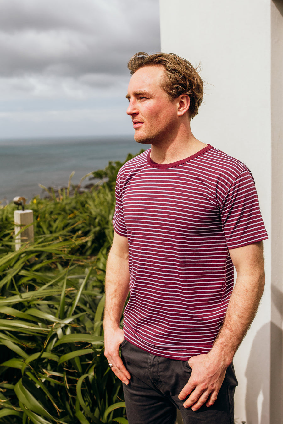 100% Organic Cotton Unisex - Burgundy Stripe