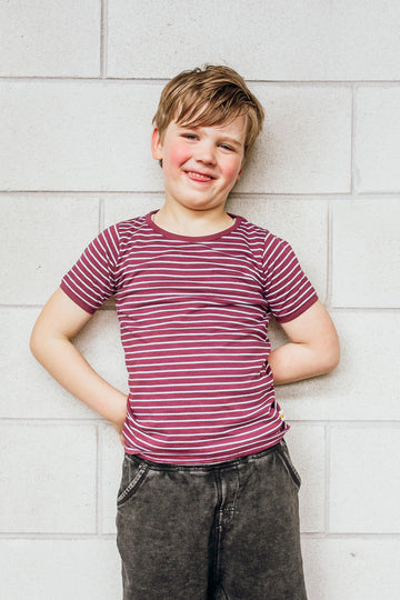 100% Organic Cotton Kids Tee - Burgundy Stripe