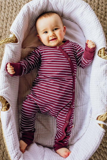 [Seconds] 100% Organic Cotton Kimono Romper - Burgundy Stripe