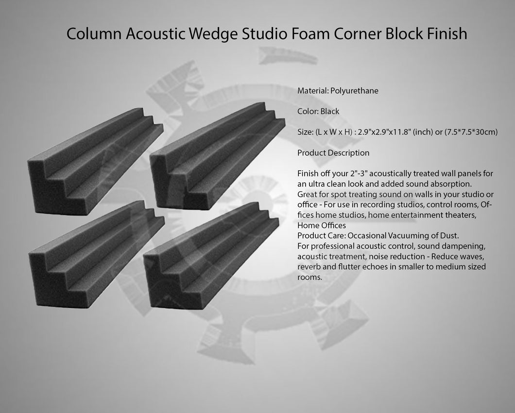 Column Acoustic Wedge Studio Foam Corner Block Finish Corner Wall