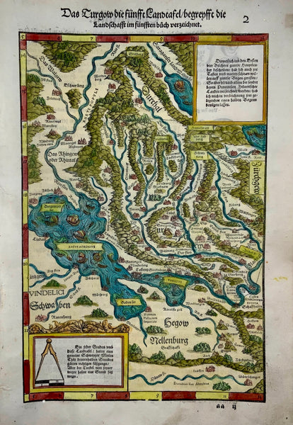 Johannes Stumpf [1500-1577]; Map of NORTHEAST SWITZERLAND GERMANY folio woodcut map 1548