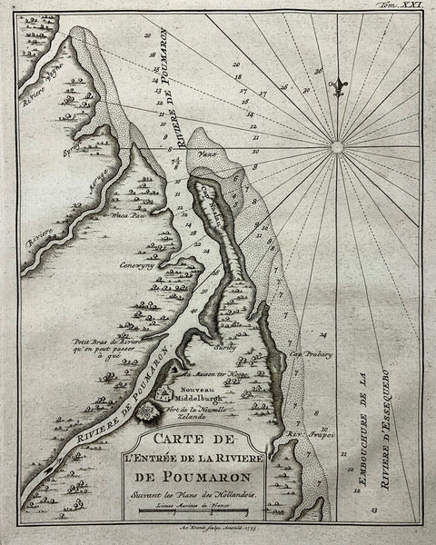 1773 Bellin Rare Krevelt issue Map of POUMARON RIVER GUYANA Middelburg