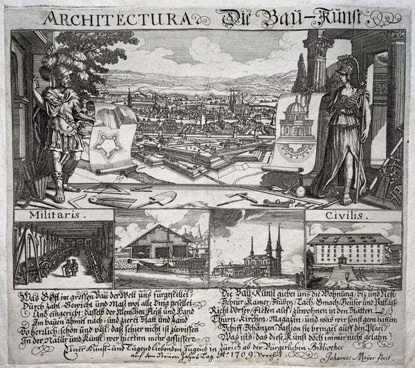 1699 Very Scarce Broadside - ARCHITECTURE - Architectura - Johannes Meyer