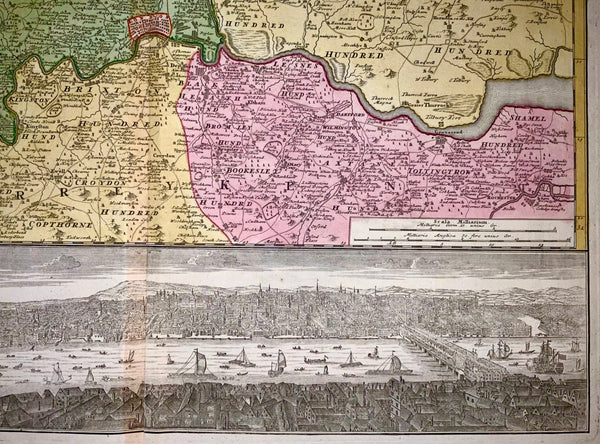 1741 LONDON. T. Bowles by Homann Heirs. Regional map with view of Westminster
