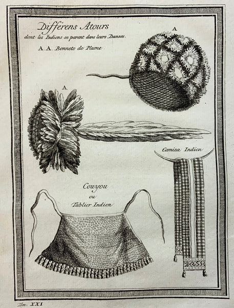 1773 NATIVE AMERICAN INDIANS Amerinidian apron, head-dress for dancing SURINAME - Ethnology