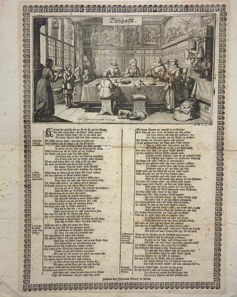 "1645 BROADSIDE on Table Manners, Gastronomy - ""Tischzucht"" extremely rare"