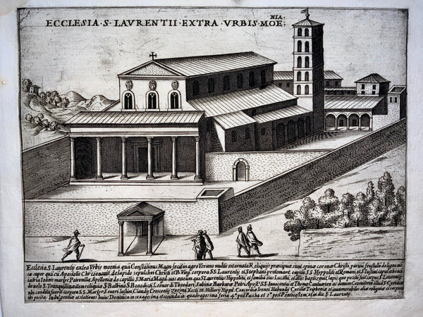 1624 G. Laurus SCARCE 1st Papal Basilica of Saint Lawence Italy engraving