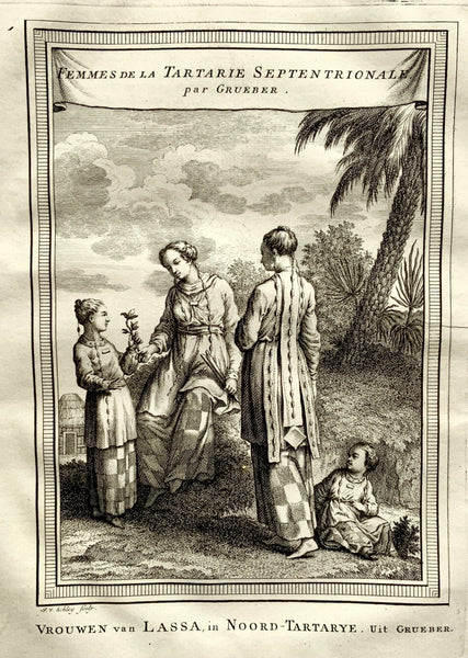 "1772 Schley - Woman of Tibet ""Femmes de la Tartarie"" engraving - Travel"