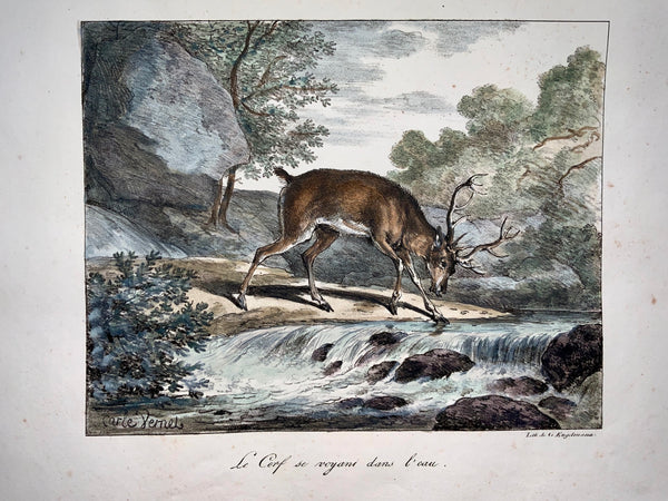 Carle Vernet (1758-1835) - INCUNABULA OF LITHOGRAPHY G. Engelmann - The Stag - Fable
