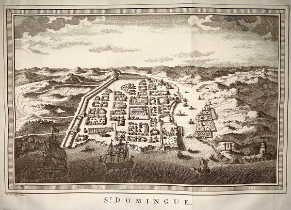 1770 Schley - City View of Santo Domingo, Hispaniola - Fine - Maps - Topography