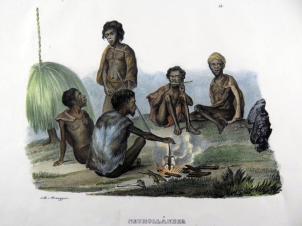 J. Honegger; Folio stone lithograph - New Holland Australian Natives - 1834 - Ethnology