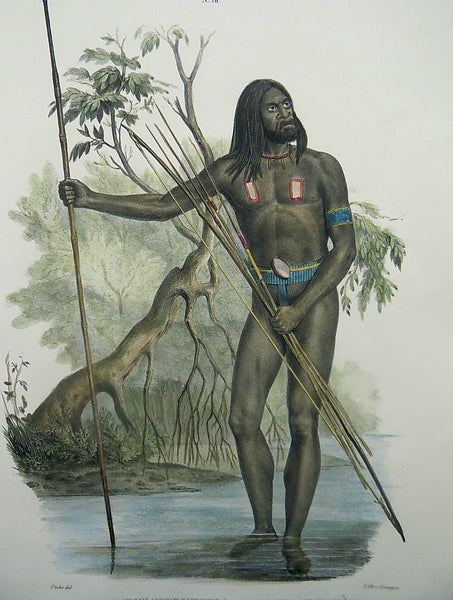 Fuchs del. - Natives of New Guinea - Ethnology - Hand coloured folio 1840