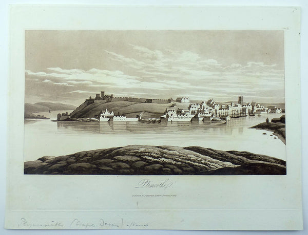 Sepia aquatint 1821 Mawman after Shepherd - PLYMOUTH Devon - Topography