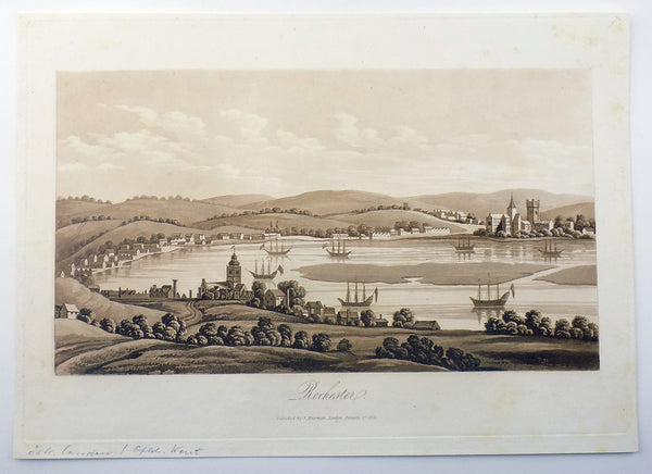 Sepia aquatint 1821 Mawman after Shepherd - ROCHESTER Kent - Topography