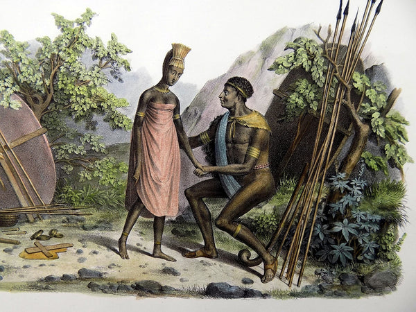 Fuchs del. - Namibia Zulu Kaffer Natives - Hand coloured folio 1840 - Ethnology