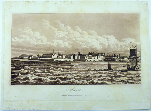 Sepia aquatint 1821 Mawman after Shepherd - HARWICH - Essex - Topography