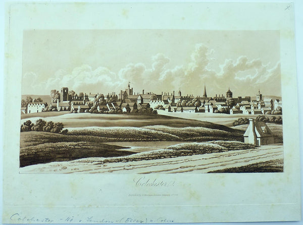 Sepia aquatint 1821 Mawman after Shepherd - COLCHESTER - Suffolk - Topography