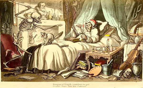 1815 Thomas Rowlandson DANCE OF DEATH handcoloured aquatint DEATH'S DART