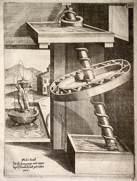 1662 Balth. Schwan; Boeckler PERPETUAL MOTION Water Raising Machine for Fountain - Technology