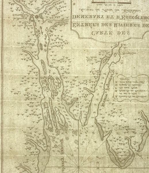 1773 Bellin Rare Krevelt issue Map DEMERARA & ESQUIBO RIVER GUYANA
