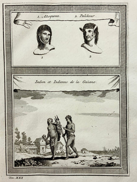 1773 Bellin NATIVE INDIANS weapons of SURINAM GUYANA - Ethnology