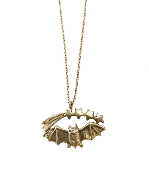 Bat and Shooting Stars Necklace- Ready to Ship
