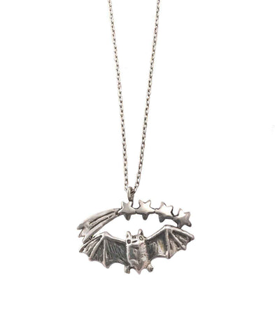 Crescent with Bat and Stars Necklace