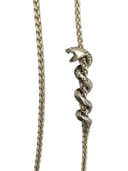 Coiled Snake Necklace in silver