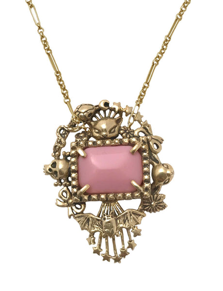 Cornucopia Necklace Wide Pink- Ready to Ship
