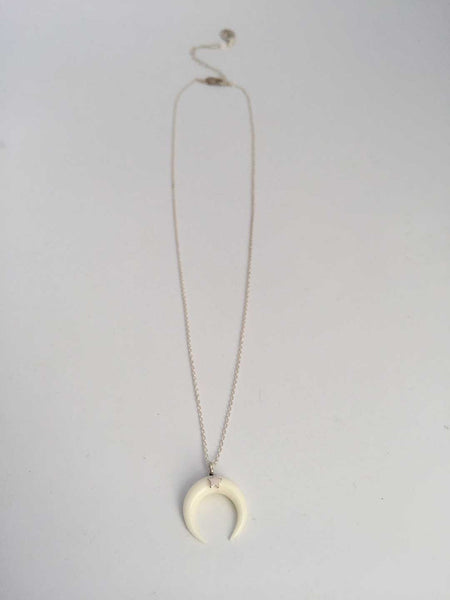 Crescent Moon Necklace White with Star
