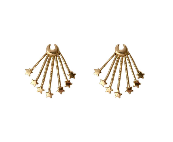 Moon and Star Post Earrings in Gold- Ready to Ship
